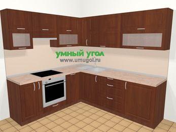 Угловая кухня МДФ матовый в классическом стиле 6,9 м², 210 на 240 см, Вишня темная, верхние модули 72 см, посудомоечная машина, встроенный духовой шкаф