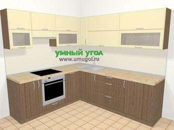 Угловая кухня МДФ матовый в современном стиле 6,9 м², 210 на 240 см, Ваниль / Лиственница бронзовая, верхние модули 72 см, посудомоечная машина, встроенный духовой шкаф