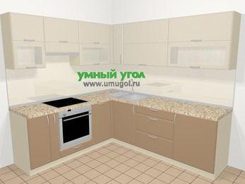 Угловая кухня МДФ матовый в современном стиле 6,9 м², 210 на 240 см, Керамик / Кофе, верхние модули 72 см, посудомоечная машина, встроенный духовой шкаф