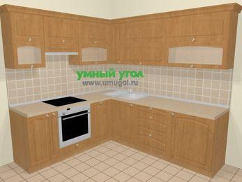 Угловая кухня МДФ матовый в стиле кантри 6,9 м², 210 на 240 см, Ольха, верхние модули 72 см, посудомоечная машина, встроенный духовой шкаф