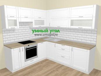 Угловая кухня МДФ матовый  в скандинавском стиле 6,9 м², 210 на 240 см, Белый, верхние модули 72 см, посудомоечная машина, встроенный духовой шкаф