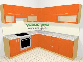 Угловая кухня МДФ металлик в современном стиле 6,9 м², 210 на 240 см, Оранжевый металлик, верхние модули 72 см, посудомоечная машина, встроенный духовой шкаф