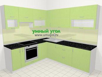Угловая кухня МДФ металлик в современном стиле 6,9 м², 210 на 240 см, Салатовый металлик, верхние модули 72 см, посудомоечная машина, встроенный духовой шкаф