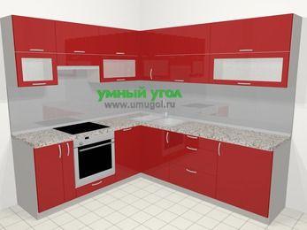 Угловая кухня МДФ глянец в современном стиле 6,9 м², 210 на 240 см, Красный, верхние модули 72 см, посудомоечная машина, встроенный духовой шкаф