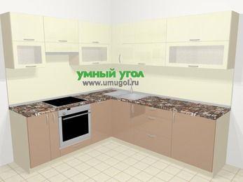 Угловая кухня МДФ глянец в современном стиле 6,9 м², 210 на 240 см, Жасмин / Капучино, верхние модули 72 см, посудомоечная машина, встроенный духовой шкаф
