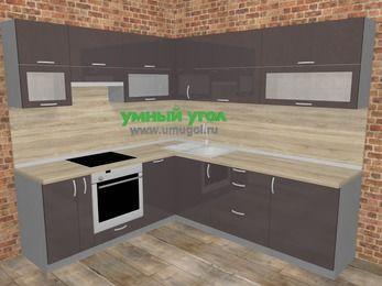 Угловая кухня МДФ глянец в стиле лофт 6,9 м², 210 на 240 см, Шоколад, верхние модули 72 см, посудомоечная машина, встроенный духовой шкаф