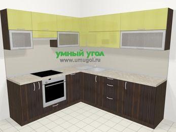 Кухни пластиковые угловые в современном стиле 6,9 м², 210 на 240 см, Желтый Галлион глянец / Дерево Мокка, верхние модули 72 см, посудомоечная машина, встроенный духовой шкаф