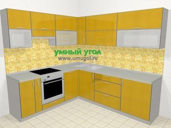 Кухни пластиковые угловые в современном стиле 6,9 м², 210 на 240 см, Желтый глянец, верхние модули 72 см, посудомоечная машина, встроенный духовой шкаф