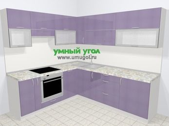 Кухни пластиковые угловые в современном стиле 6,9 м², 210 на 240 см, Сиреневый глянец, верхние модули 72 см, посудомоечная машина, встроенный духовой шкаф