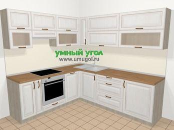 Угловая кухня МДФ патина в классическом стиле 6,9 м², 210 на 240 см, Лиственница белая, верхние модули 72 см, посудомоечная машина, встроенный духовой шкаф