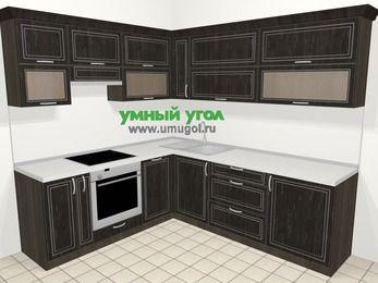 Угловая кухня МДФ патина в классическом стиле 6,9 м², 210 на 240 см, Венге, верхние модули 72 см, посудомоечная машина, встроенный духовой шкаф
