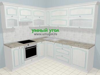 Угловая кухня МДФ патина в стиле прованс 6,9 м², 210 на 240 см, Лиственница белая, верхние модули 72 см, посудомоечная машина, встроенный духовой шкаф