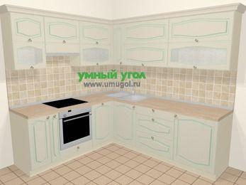 Угловая кухня МДФ патина в стиле прованс 6,9 м², 210 на 240 см, Керамик, верхние модули 72 см, посудомоечная машина, встроенный духовой шкаф