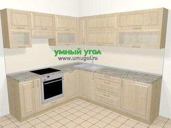 Угловая кухня из массива дерева в классическом стиле 6,9 м², 210 на 240 см, Светло-коричневые оттенки, верхние модули 72 см, посудомоечная машина, встроенный духовой шкаф