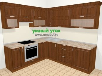 Угловая кухня из массива дерева в классическом стиле 6,9 м², 210 на 240 см, Темно-коричневые оттенки, верхние модули 72 см, посудомоечная машина, встроенный духовой шкаф