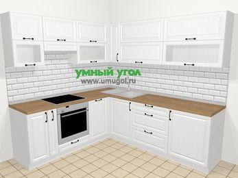 Угловая кухня из массива дерева в скандинавском стиле 6,9 м², 210 на 240 см, Белые оттенки, верхние модули 72 см, посудомоечная машина, встроенный духовой шкаф