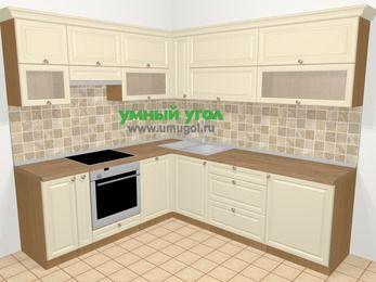 Угловая кухня из массива дерева в стиле кантри 6,9 м², 210 на 240 см, Бежевые оттенки, верхние модули 72 см, посудомоечная машина, встроенный духовой шкаф