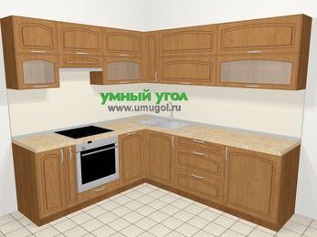 Угловая кухня МДФ патина в классическом стиле 6,9 м², 210 на 240 см, Ольха, верхние модули 72 см, посудомоечная машина, встроенный духовой шкаф