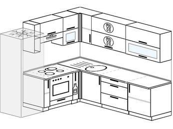 Угловая кухня 6,9 м² (2,1✕2,4 м), верхние модули 72 см, встроенный духовой шкаф, холодильник
