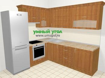Угловая кухня МДФ матовый в классическом стиле 6,9 м², 210 на 240 см, Вишня, верхние модули 72 см, встроенный духовой шкаф, холодильник