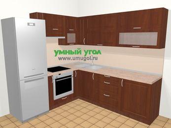 Угловая кухня МДФ матовый в классическом стиле 6,9 м², 210 на 240 см, Вишня темная, верхние модули 72 см, встроенный духовой шкаф, холодильник