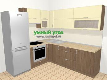 Угловая кухня МДФ матовый в современном стиле 6,9 м², 210 на 240 см, Ваниль / Лиственница бронзовая, верхние модули 72 см, встроенный духовой шкаф, холодильник