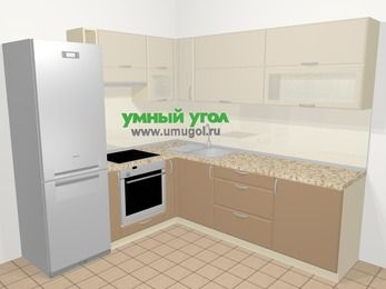 Угловая кухня МДФ матовый в современном стиле 6,9 м², 210 на 240 см, Керамик / Кофе, верхние модули 72 см, встроенный духовой шкаф, холодильник