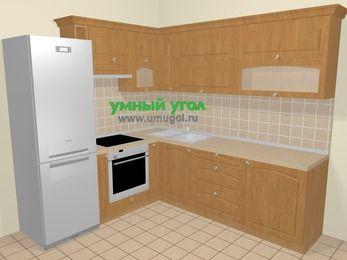 Угловая кухня МДФ матовый в стиле кантри 6,9 м², 210 на 240 см, Ольха, верхние модули 72 см, встроенный духовой шкаф, холодильник