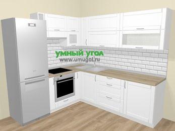 Угловая кухня МДФ матовый  в скандинавском стиле 6,9 м², 210 на 240 см, Белый, верхние модули 72 см, встроенный духовой шкаф, холодильник