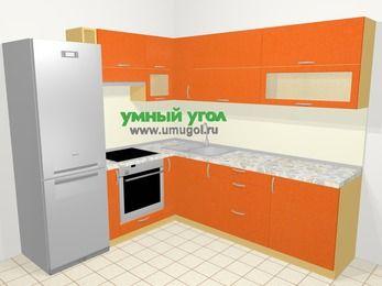 Угловая кухня МДФ металлик в современном стиле 6,9 м², 210 на 240 см, Оранжевый металлик, верхние модули 72 см, встроенный духовой шкаф, холодильник