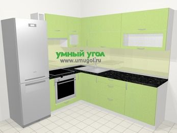 Угловая кухня МДФ металлик в современном стиле 6,9 м², 210 на 240 см, Салатовый металлик, верхние модули 72 см, встроенный духовой шкаф, холодильник