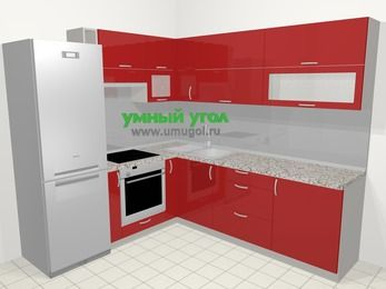 Угловая кухня МДФ глянец в современном стиле 6,9 м², 210 на 240 см, Красный, верхние модули 72 см, встроенный духовой шкаф, холодильник