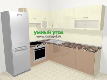 Угловая кухня МДФ глянец в современном стиле 6,9 м², 210 на 240 см, Жасмин / Капучино, верхние модули 72 см, встроенный духовой шкаф, холодильник