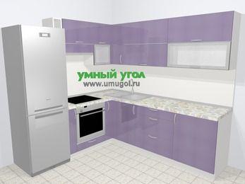 Кухни пластиковые угловые в современном стиле 6,9 м², 210 на 240 см, Сиреневый глянец, верхние модули 72 см, встроенный духовой шкаф, холодильник