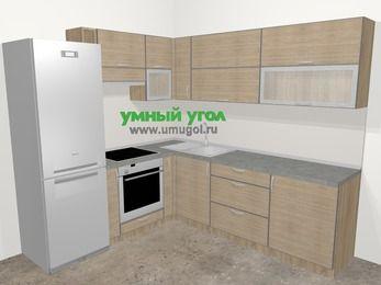 Кухни пластиковые угловые в стиле лофт 6,9 м², 210 на 240 см, Чибли бежевый, верхние модули 72 см, встроенный духовой шкаф, холодильник