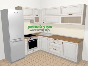 Угловая кухня МДФ патина в классическом стиле 6,9 м², 210 на 240 см, Лиственница белая, верхние модули 72 см, встроенный духовой шкаф, холодильник