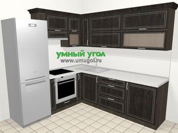 Угловая кухня МДФ патина в классическом стиле 6,9 м², 210 на 240 см, Венге, верхние модули 72 см, встроенный духовой шкаф, холодильник