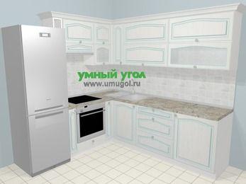 Угловая кухня МДФ патина в стиле прованс 6,9 м², 210 на 240 см, Лиственница белая, верхние модули 72 см, встроенный духовой шкаф, холодильник