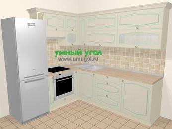 Угловая кухня МДФ патина в стиле прованс 6,9 м², 210 на 240 см, Керамик, верхние модули 72 см, встроенный духовой шкаф, холодильник