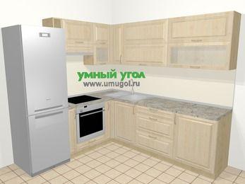 Угловая кухня из массива дерева в классическом стиле 6,9 м², 210 на 240 см, Светло-коричневые оттенки, верхние модули 72 см, встроенный духовой шкаф, холодильник
