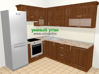 Угловая кухня из массива дерева в классическом стиле 6,9 м², 210 на 240 см, Темно-коричневые оттенки, верхние модули 72 см, встроенный духовой шкаф, холодильник