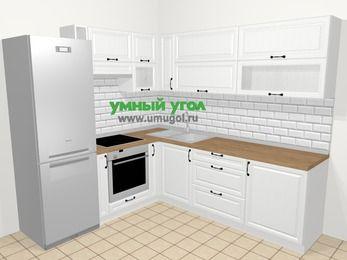 Угловая кухня из массива дерева в скандинавском стиле 6,9 м², 210 на 240 см, Белые оттенки, верхние модули 72 см, встроенный духовой шкаф, холодильник