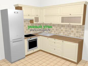 Угловая кухня из массива дерева в стиле кантри 6,9 м², 210 на 240 см, Бежевые оттенки, верхние модули 72 см, встроенный духовой шкаф, холодильник