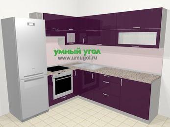 Угловая кухня МДФ глянец в современном стиле 6,9 м², 210 на 240 см, Баклажан, верхние модули 72 см, встроенный духовой шкаф, холодильник