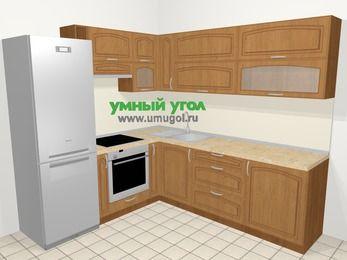 Угловая кухня МДФ патина в классическом стиле 6,9 м², 210 на 240 см, Ольха, верхние модули 72 см, встроенный духовой шкаф, холодильник