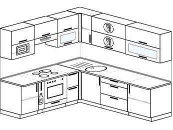 Угловая кухня 6,9 м² (2,1✕2,4 м), верхние модули 72 см, верхний модуль под свч, встроенный духовой шкаф
