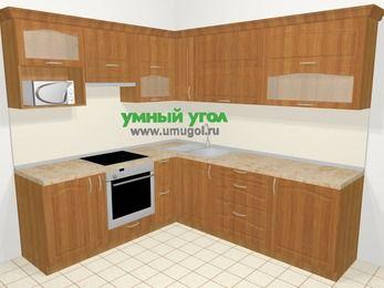 Угловая кухня МДФ матовый в классическом стиле 6,9 м², 210 на 240 см, Вишня, верхние модули 72 см, верхний модуль под свч, встроенный духовой шкаф