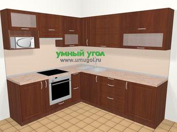 Угловая кухня МДФ матовый в классическом стиле 6,9 м², 210 на 240 см, Вишня темная, верхние модули 72 см, верхний модуль под свч, встроенный духовой шкаф