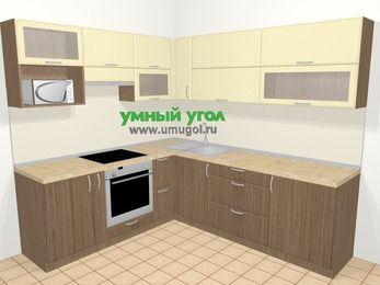 Угловая кухня МДФ матовый в современном стиле 6,9 м², 210 на 240 см, Ваниль / Лиственница бронзовая, верхние модули 72 см, верхний модуль под свч, встроенный духовой шкаф