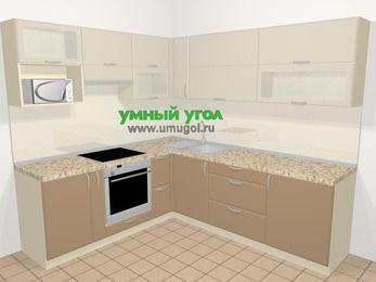 Угловая кухня МДФ матовый в современном стиле 6,9 м², 210 на 240 см, Керамик / Кофе, верхние модули 72 см, верхний модуль под свч, встроенный духовой шкаф